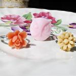 Jolenta Children's Ring Set Flower Trio Pink Orange Tan Pastel Owl