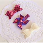Set of 3 Baby / Girls Clip / Clips / Bows - 'Purple Pinwheel'
