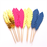 12 Feather Cupcake Toppers / Cake Picks Pink Navy Yellow and Metallic Gold