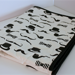 Pram/bassinet mini quilt, boys moustache theme black and white