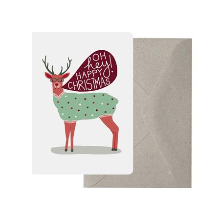 Greeting card reindeer happy christmas funny quirky for Funny reindeer christmas cards