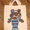 Hand Painted Original Flower Vase Shopping Tote Bag- Eco Friendly
