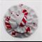 White Candy Cane Christmas Double Yoyo Hair Clip