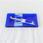 Fused Glass Plate and Cheese Knife Set