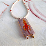 Desert Wildflower, hand painted bamboo tile pendant necklace, red, orange