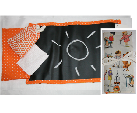 Roll -up Chalkboard Mat with Chalk and Chenille duster -Travel