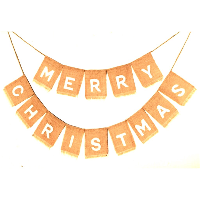 LAST ONE Merry Christmas Hessian Burlap Rustic Shabby Holiday Banner