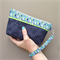 Lucky Dip Clutch: Blue, Green & Grey Spots with Bright Raindrops