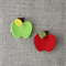 Apple hair clip, red, green, grosgrain ribbon covered clip, fruit