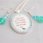 Harmony Quote pendant & earring set