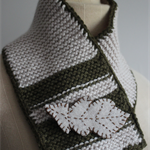 Leaf - Knitted Wool Scarflette & Brooch