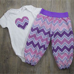 Purple shaded chevron harem pants & onesie – Size 0 – Ready to send – Baby girl