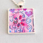 Happy Hearts original art pendant