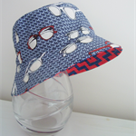 Boys summer hat in funky glasses fabric- LIMITED SIZES