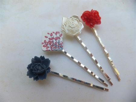 Wood and Resin Hair Clips-4 hair clips