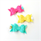 Felt Bow Clip Set - Spearmint Fuchsia Yellow - Polkadot