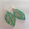 Aqua Verdigris Leaf Earrings