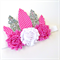 Feather Crown - Headdress - Silver Pink White - Glitter - Birthday - Dress Up