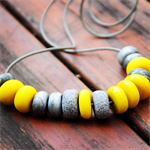 Sunshine and Silver polymer clay necklace