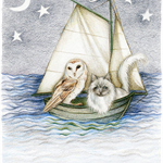 Owl & The Pussycat Nursery Rhyme Art Print Colour Pencil Drawing Nautical 8x10