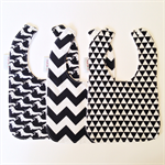 Set of 3 Monochrome Black and White Bibs
