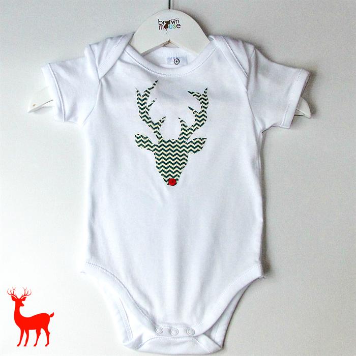 baby christmas onesie shorts set with chevron rudolf head sz