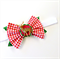 Christmas Bow Headband - Gingham Fabric - Deer - Red White Green