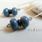 Argentium Sterling Silver range - dusky blue lampwork & swarovski bead earrings