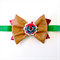 Christmas Bow Headband - Faux Leather - Wreath - Red Green Tan - Glitter