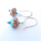 Urchin turquoise blue glass and sterling silver earrings