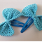 Set of 2 Bow Hair Clips - Blue