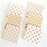 Gold Glitter Coasters - 6 Ceramic Tile Drink Coasters Chevron Spots Circles