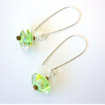 Sterling Silver and Green glass earrings by Sasha and Max Studio