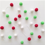 Felt Ball Garland Christmas in Red, Bright Green ,White