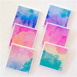 Watercolour Coasters - 6 Ceramic Tile Drink Coasters Summer Colours
