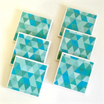 Aqua Triangle Coasters - 6 Ceramic Tile Drink Coasters Geometric Triangles Mint