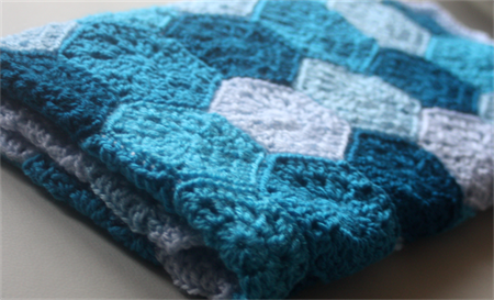 Crochet Hexie Baby Blanket In Blues Cuts With Kylie