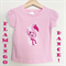Size 3 Girls Bright Tees T-shirts, Pink Flamingo Dance, 100% Cotton