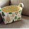 Green and Gold Christmas Tree Fabric Storage Tub