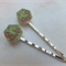 Photo Wood GreenReeds and Flower Leaves Hair Clips-2 hair clips