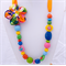 Necklace, Orange Ribbon, Multi Coloured  resin beads with fabric flower