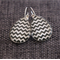 Black & White Chevron ~ Teardrop Lever Back Earrings