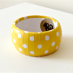 Paper Covered Wooden Bangle - Yellow with White Polka Dot