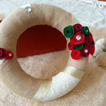 Xmas wreath with red and green roses