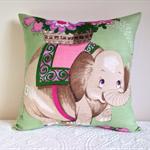 Elephant cushion nursery decor vintage linen cover