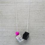 Pink/black/grey marbled porcelain, & wood asymmetric necklace - sterling silver