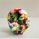 Wide Fabric Wrapped Bangle. Floral Pattern.