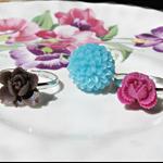 Sibyla Children's Ring Set Flower Trio Pink Magenta Aqua Blue Brown