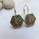 Wood Photo Cut Green Reeds and Flower Earrings