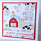 Farmyard red animal barn cow sheep chicken print handmade birthday boy girl card